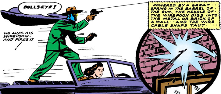 Sandman (DC Comics) (Wesley Dodds) shoots his wirepoon from a car
