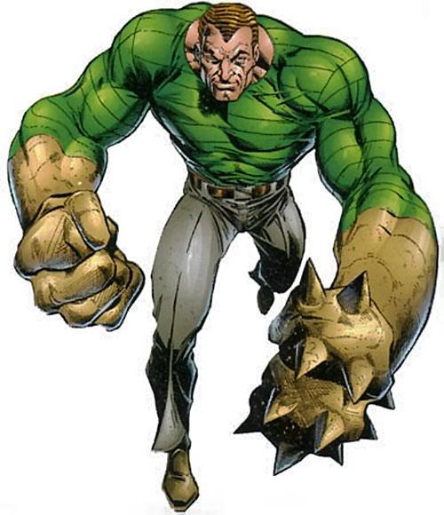 Sandman (Marvel Comics) making giant weapon hands