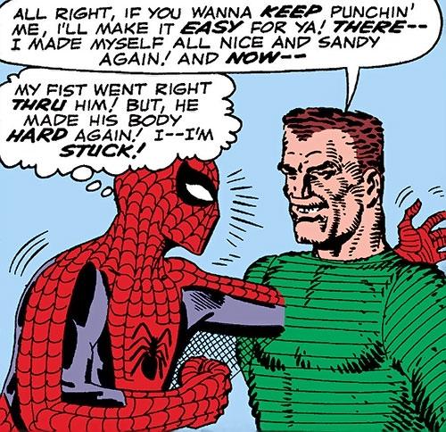 Sandman (Marvel Comics) taunting Spider-Man