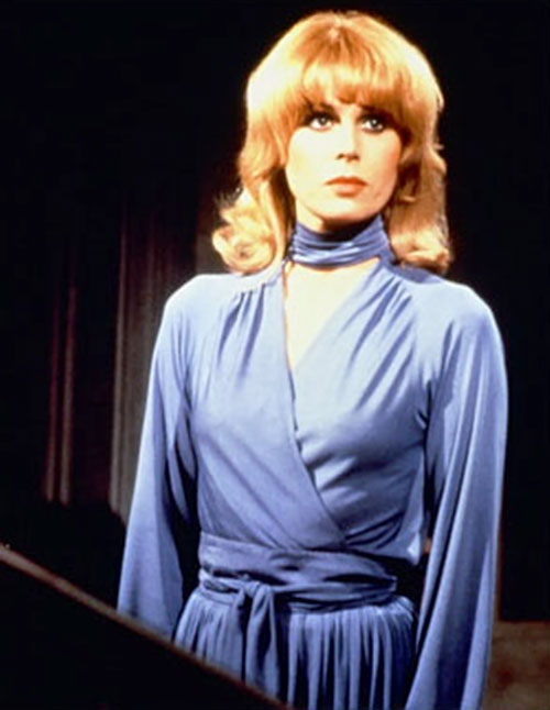 Sapphire (Joanna Lumley in Sapphire and Steel) (BBC series) in a blue dress