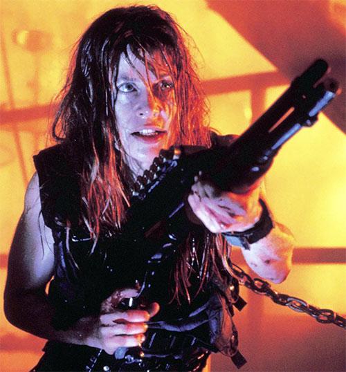 Sarah Connor (Linda Hamilton) with a SPAS shotgun