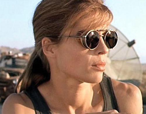 Sarah Connor (Linda Hamilton) with shades, face closeup
