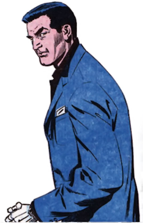 Sarge Steel (Charlton comics) wearing a blue vest