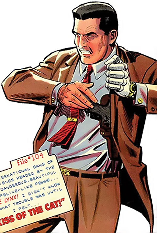 Sarge Steel (Charlton comics) draws from his shoulder holster