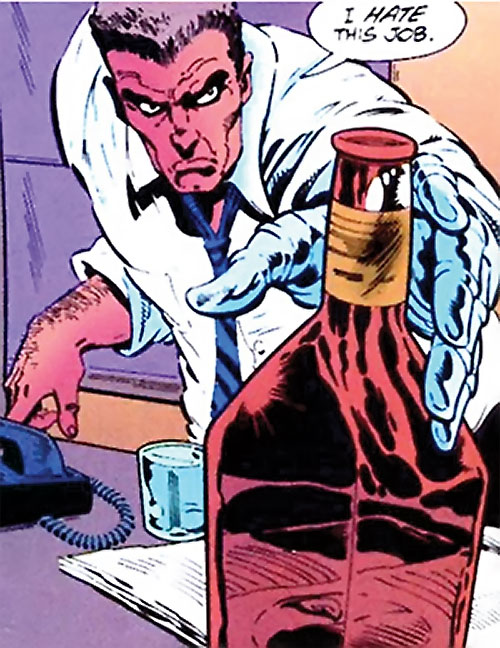 Sarge Steel (DC Comics) grabbing a bottle of whiskey