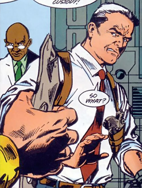 Sarge Steel (DC Comics) looking angry