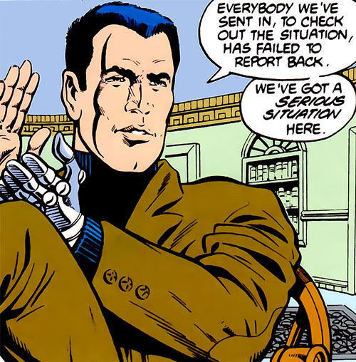 Sarge Steel (DC Comics) clapping in a brown suit