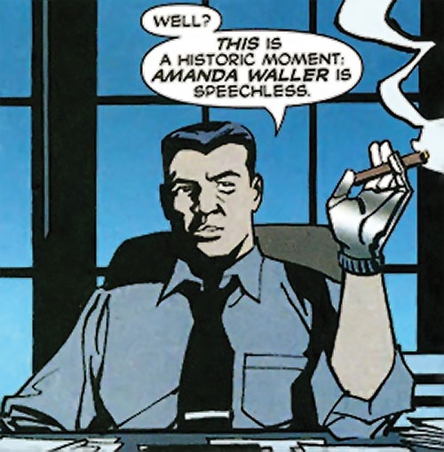 Sarge Steel (DC Comics) smoking a cigar at his desk by night