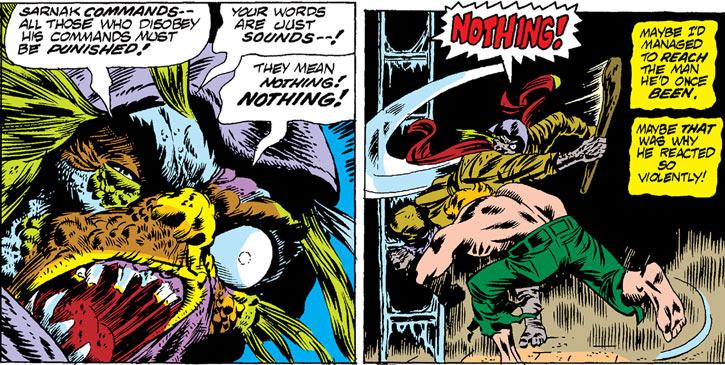Sarnak (Werewolf by Night enemy) (Marvel Comics) - disfigured henchman