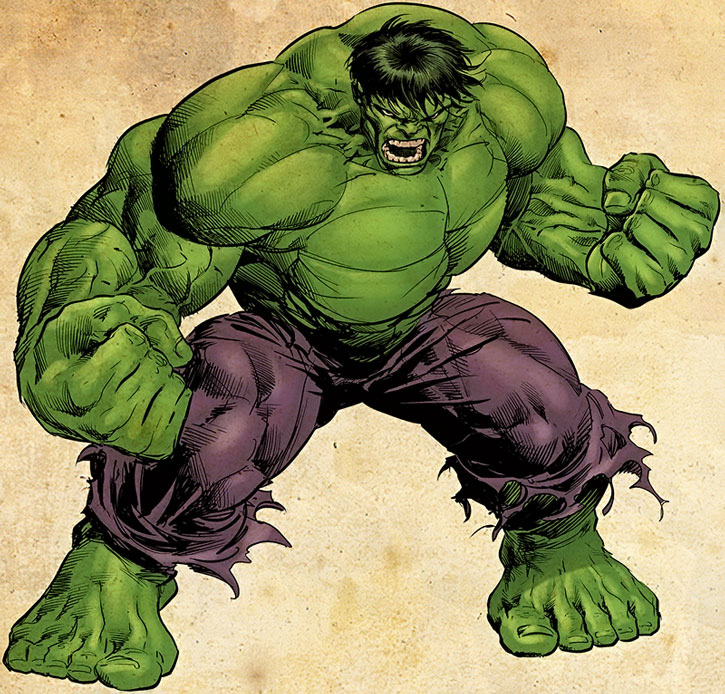 Iconic drawing of the Hulk over an off-white background