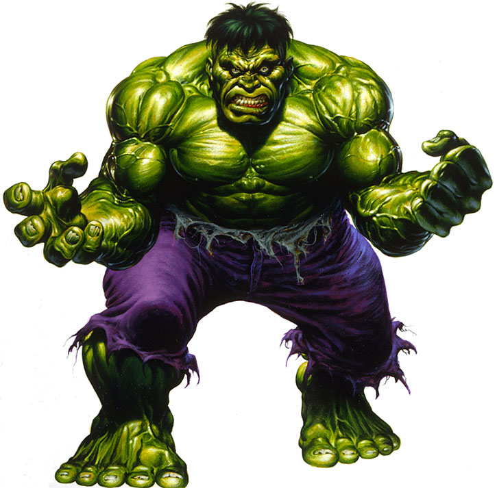 Joe Jusko painting of the Hulk over a white background