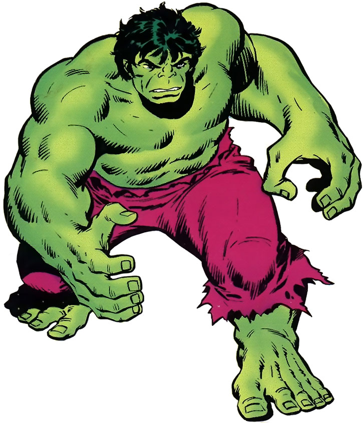 Iconic drawing of the Hulk over a white background