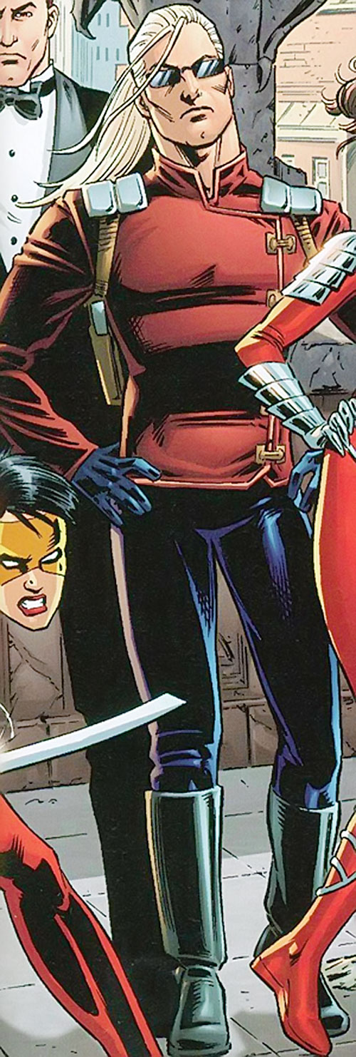 Savant (Birds of Prey character) (DC Comics) in red and black