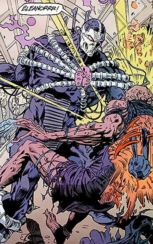 The Scarab (Louis Sendak) punches through a zombie