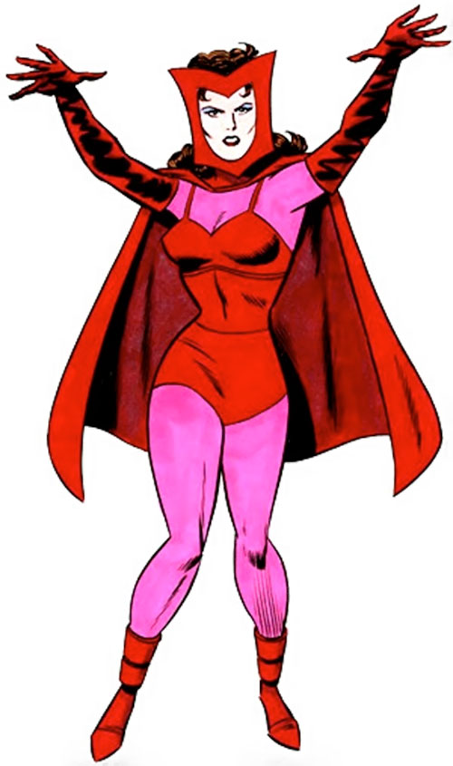 Scarlet Witch of the Avengers (Early version) (Marvel Comics) raising her hands