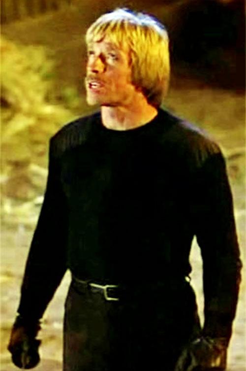 Scott James (Chuck Norris in The Octagon) in black