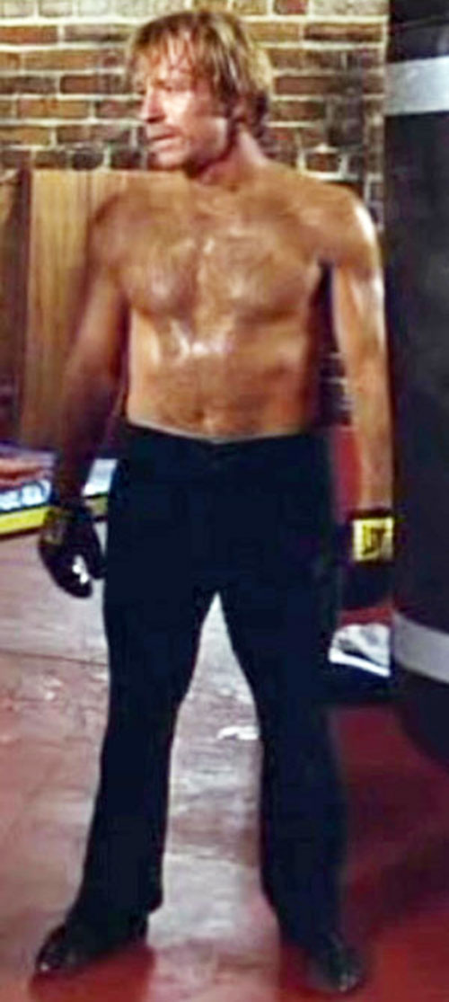 Scott James (Chuck Norris in The Octagon) bare-chested