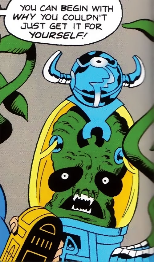Sden (Legion of Super-Heroes enemy) (DC Comics) with a probe on his helmet