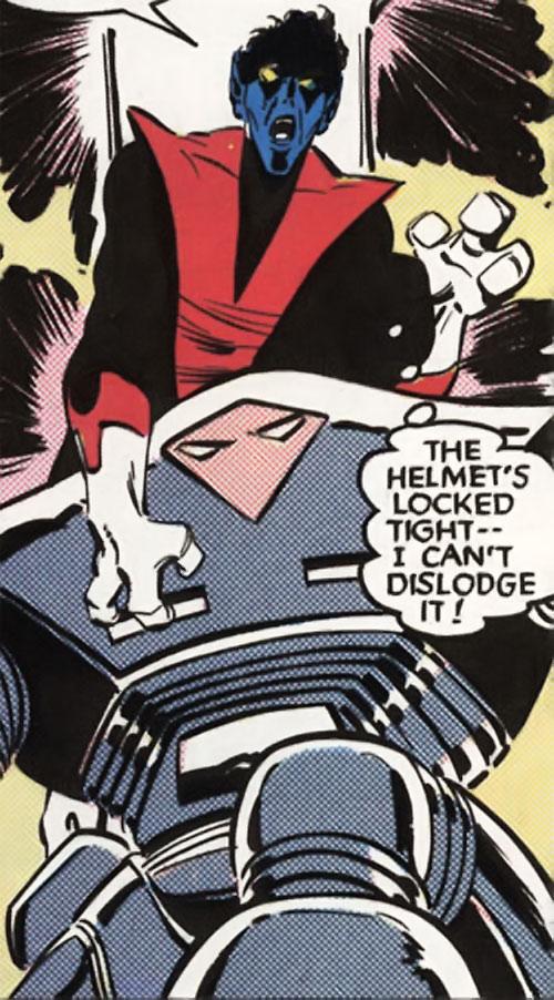 Secbots (X-Men power armor) (Marvel Comics) vs. Nightcrawler