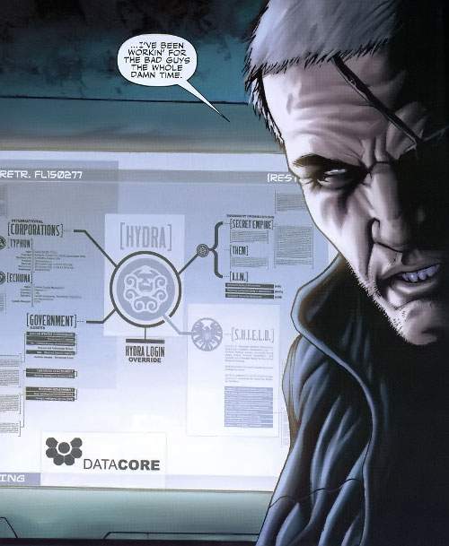 Nick Fury and a screen showing the SHIELD-Hydra links