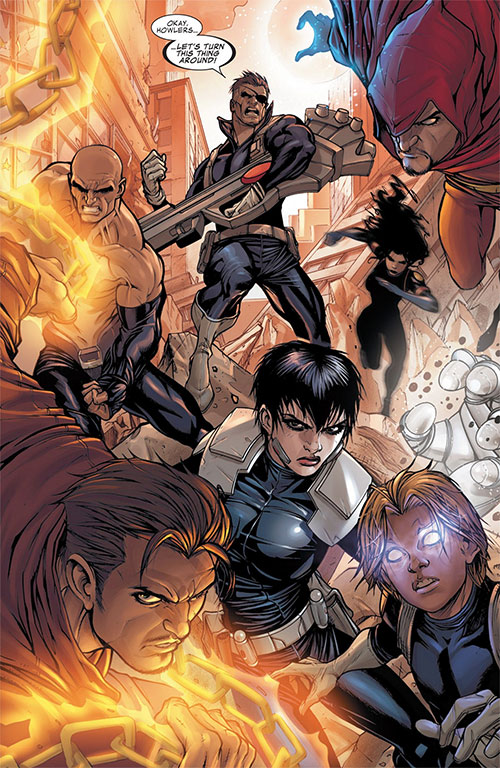 Secret Warriors team (Marvel Comics) and Nick Fury in a wrecked town