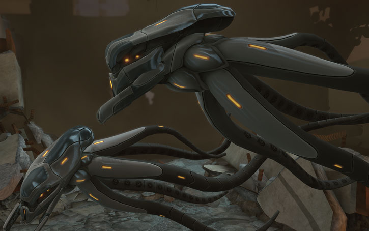XCom video game - Seekers flying lazily
