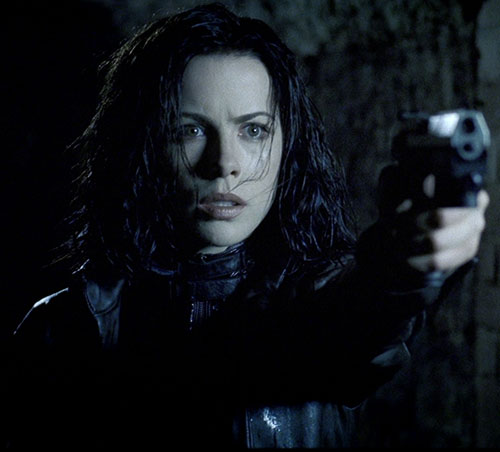 Selene (Kate Beckinsale in Underworld movies) surprised