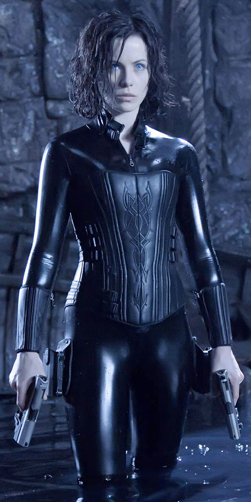 Selene (Kate Beckinsale in Underworld movies) in her latex suit