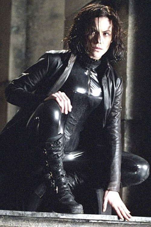 Selene (Kate Beckinsale in Underworld movies) crouching