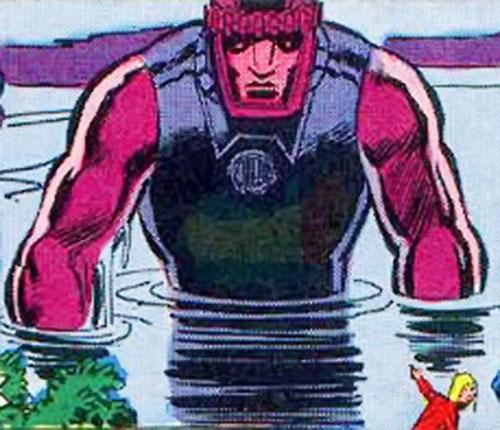 Sentinel Mk4 robot (X-Men enemies) (Marvel Comics) emerging from a lake