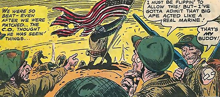 Sergeant Gorilla raising the flag