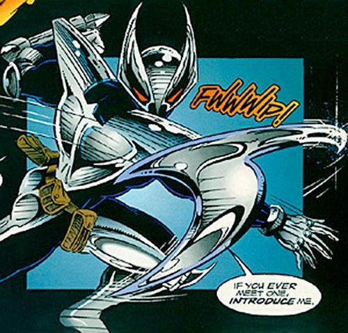 ShadowHawk (Image Comics) hurling a blade