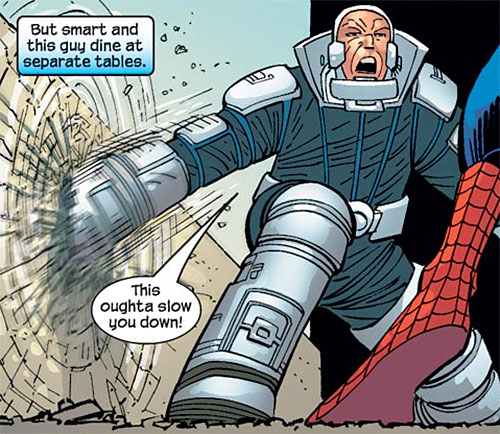 Shaker (Spider-Man enemy) (Marvel Comics) punches a wall