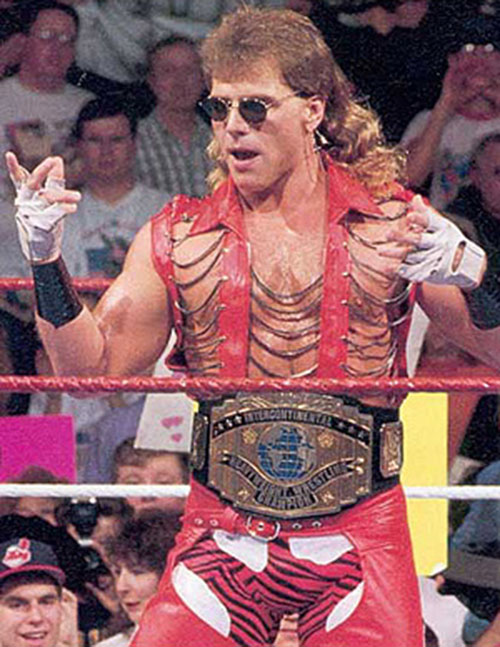 Shawn Michaels the Heartbreak Kid in a red leather outfit