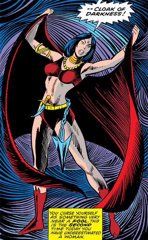 Shaya of the Living Goddesses (Iron Fist enemy) (Marvel Comics) using her cloak of darkness