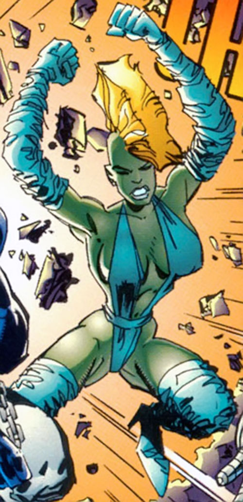 She-Dragon (Savage Dragon comics) with the blue gloves and boots