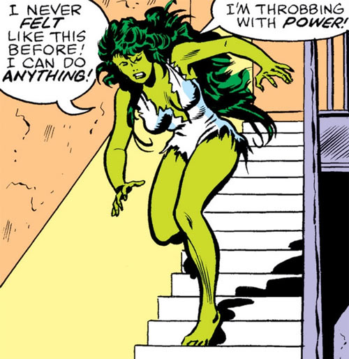 She-Hulk (Marvel Comics) (Early) running down a stairway