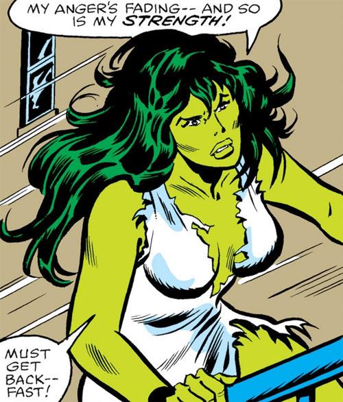 She-Hulk (Marvel Comics) (Early) in shredded white clothing