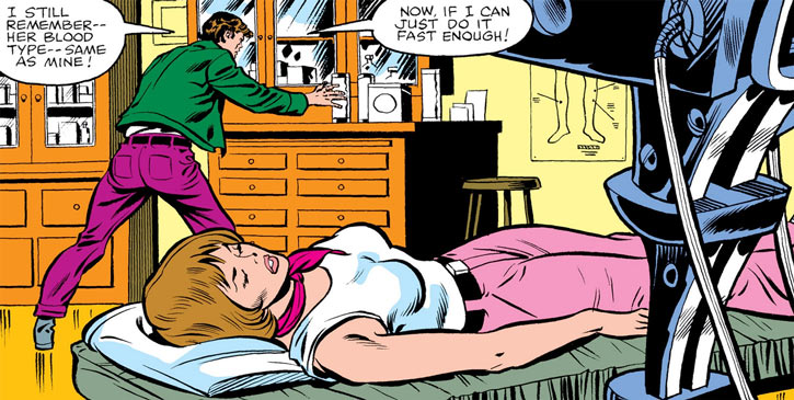 Jennifer Walter receives a fateful blood transfusion from Bruce Banner