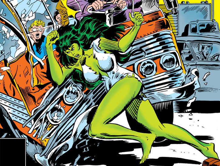 She-Hulk ramming a bus on a L.A. highway