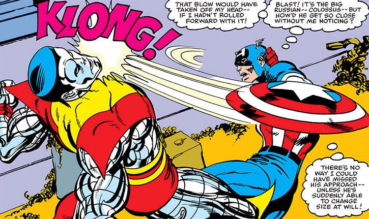 Captain America shield bash on Colossus