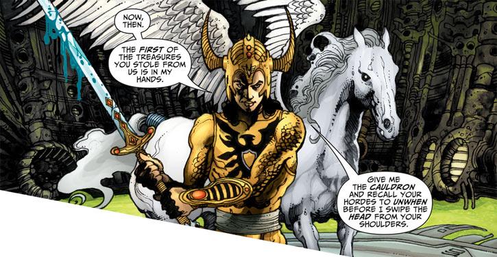 Shining Knight (Ystina) (DC Comics) with Excalibur and Vanguard