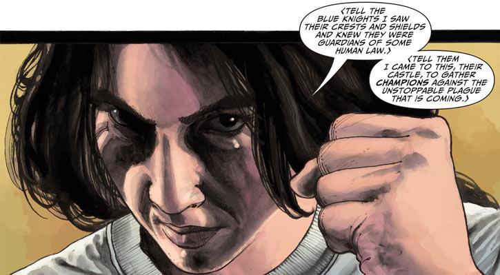 Shining Knight (Ystina) (DC Comics) face closeup fist raised