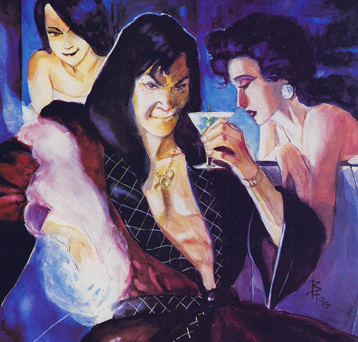Shinobi Shaw (Marvel Comics) painted art with courtesans