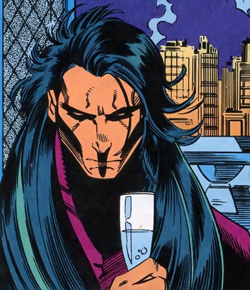 Shinobi Shaw (Marvel Comics) looking pensive and a city skyline