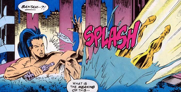 Shinobi Shaw (Marvel Comics) drinking in bath interrupted