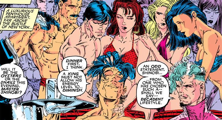 Shinobi Shaw (Marvel Comics) with decadent entourage and Fitzroy