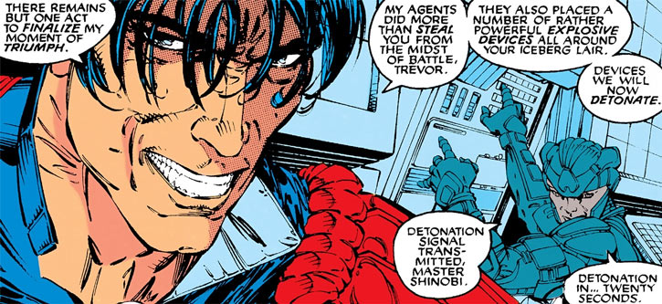 Shinobi Shaw (Marvel Comics) grinning face closeup plus armoured demolitionist