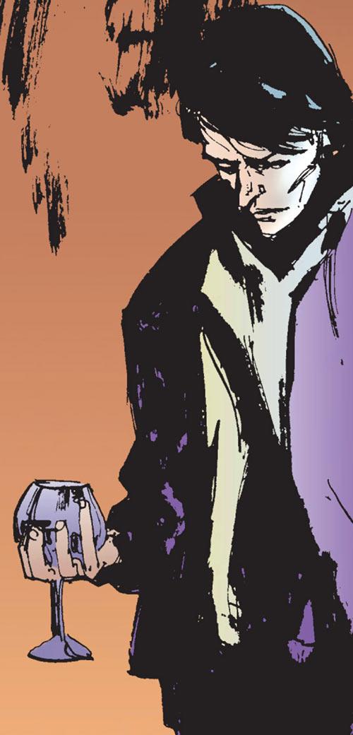 Shinobi Shaw (Marvel Comics) on an ochre and orange background