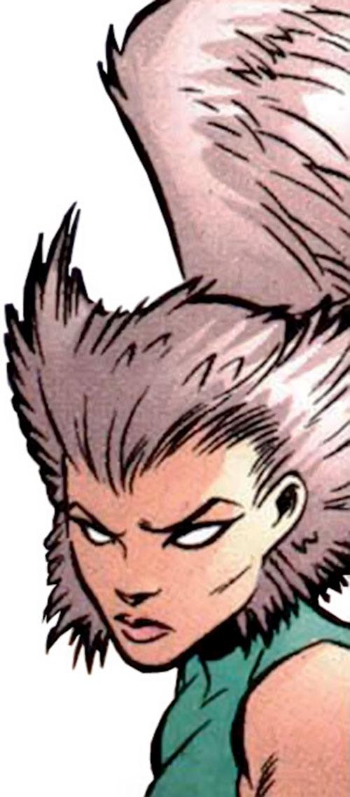 Starshrike aka Shrike of the Cadre (Power Company enemy) (DC Comics) face closeup